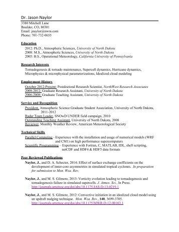 Jason Naylor - NorthWest Research Associates, Inc.