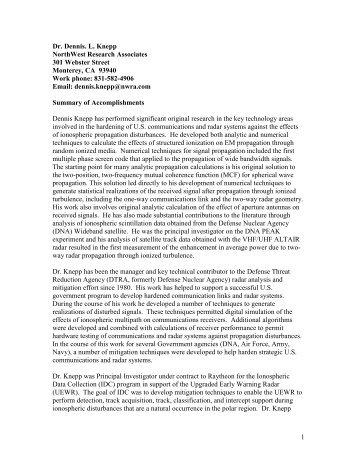 Dennis Knepp - NorthWest Research Associates, Inc.