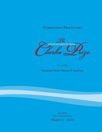 2011ClarkePrizeBroch.. - National Water Research Institute