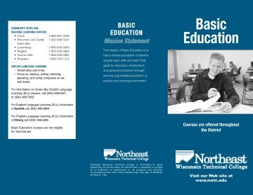 5273GS Basic Education 2008.qxd - Northeast Wisconsin Technical ...