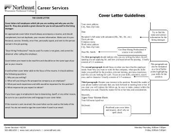 guidelines for cover letter