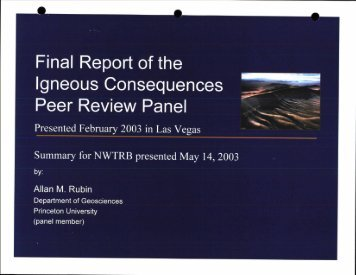 Final Report of the Igneous Consequences - US Nuclear Waste ...
