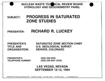 Richard Luckey - US Nuclear Waste Technical Review Board