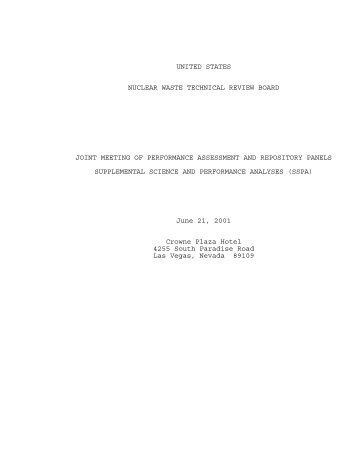 June 21, 2001 - US Nuclear Waste Technical Review Board
