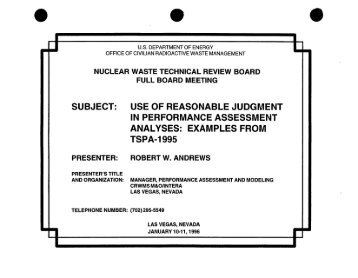 Robert Andrews - US Nuclear Waste Technical Review Board