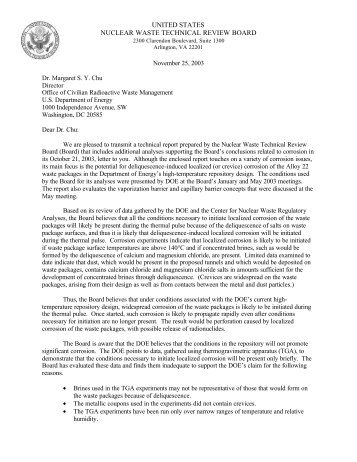 Board letter to Dr. Margaret Chu - US Nuclear Waste Technical ...
