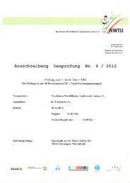 Aussehreibung Danprüfung Nr. 6 / 2OL2 - NWTU - Nordrhein ...