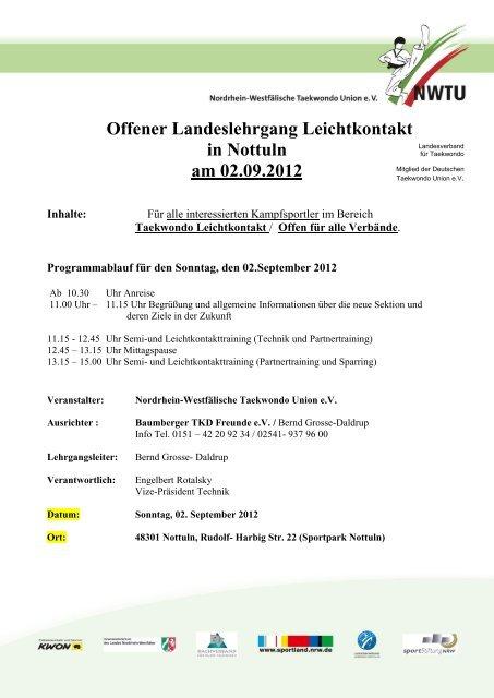 Offener Landeslehrgang Leichtkontakt in Nottuln am 02.09.2012