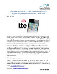 JSB Market Research: Global LTE Market (TDD, FDD, LTE Advance) - Global Opportunity Analysis and Forecast