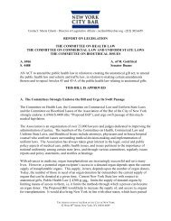 report on legislation the committee on health law - New York City ...