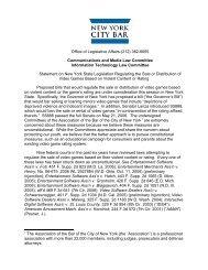 Report on violent video game legislation - New York City Bar ...