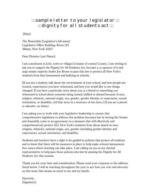 sample letter to your legislator::: :::dignity for all students act