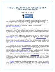 free speech threat assessment # 1 - New York Civil Liberties Union