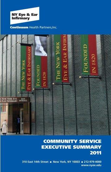 community service executive summary 2011 - New York Eye and ...