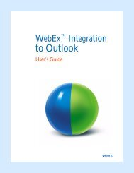 WebEx Integration to Outlook, User's Guide