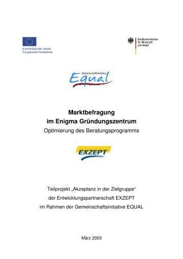 Marktbefragung im Enigma Gründungszentrum - exist-cologne