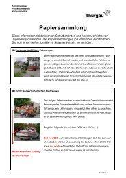 Merkblatt Papiersammlung - Tipps der Kantonspolizei Thurgau