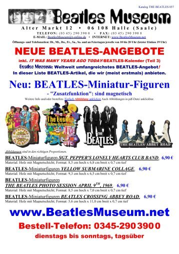Beatles Museum - Katalog 37 mit Hyperlinks