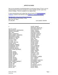 ARTISTS FILE INDEX Artists File Index Page 1 - New York Public ...