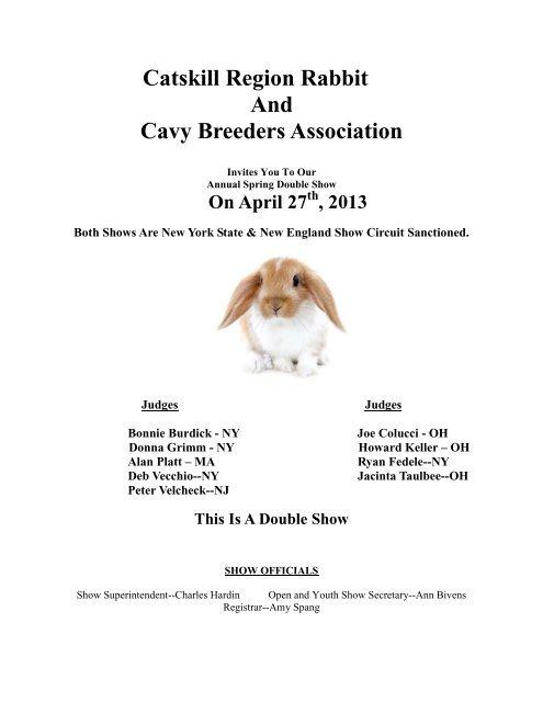 Catskill Region Rabbit And Cavy Breeders Association New
