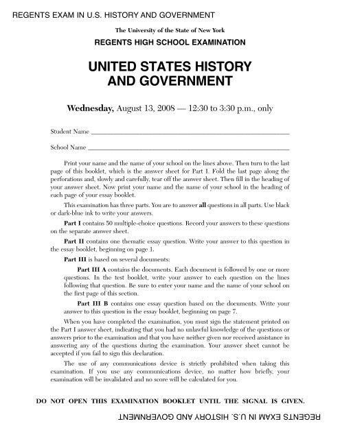 United States History And Government Examination Regents Exams