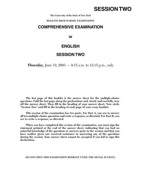 Nys english regents essay booklet disc platinum rule assessment essay