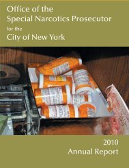 Office of the Special Narcotics Prosecutor - New York State Senate
