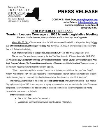 PRESS RELEASE - New York State Hospitality & Tourism Association