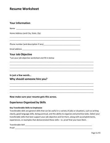 RESUME WORKSHEET âu20acu201c For Brainstorming And Information Collection  Resume Worksheet