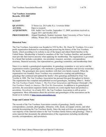 Van Voorhees Association Records, 1932-2007 - New York State ...