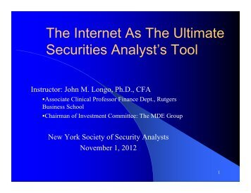 Q - New York Society of Security Analysts