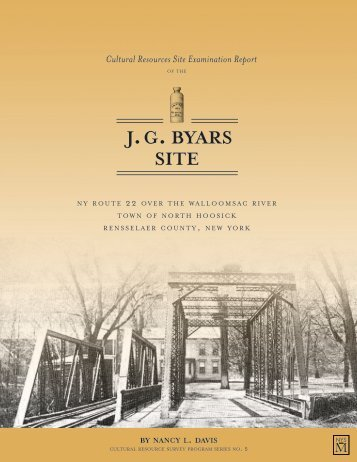 Cultural Resources Site Examination Report of the JG Byars Site
