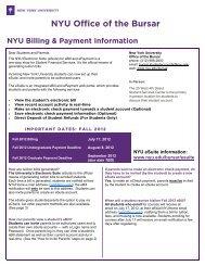 NYU Office of the Bursar - New York University