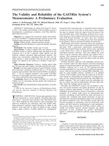 The Validity and Reliability of the GAITRite System's Measurements ...
