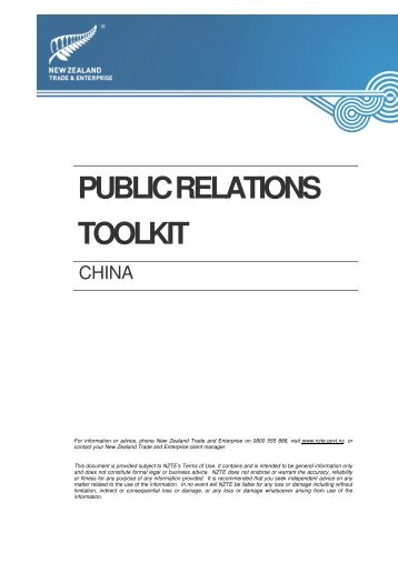 PR toolkit - New Zealand Trade and Enterprise