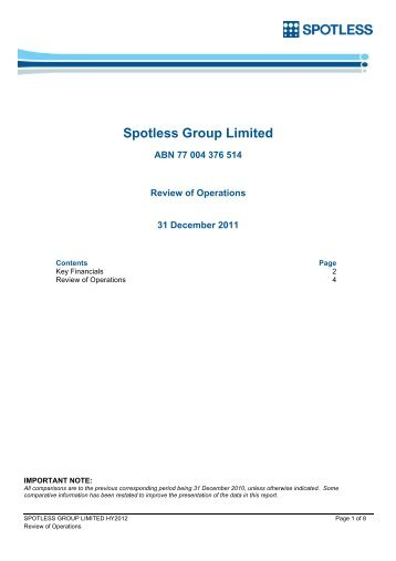 Spotless Group Limited - NZX