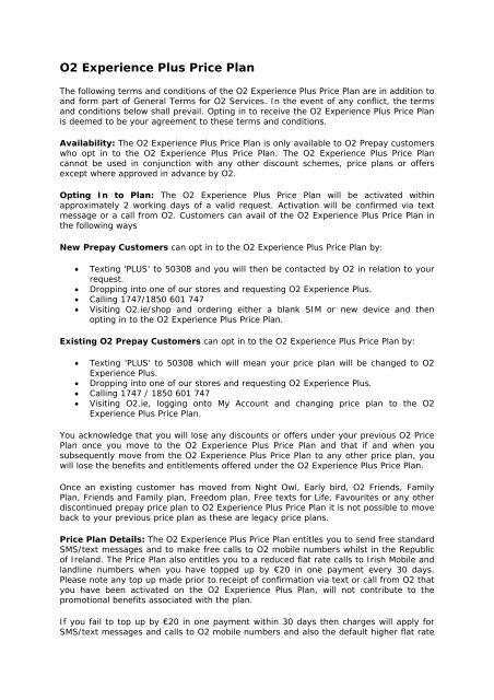 O2 Experience Plus Price Plan - O2 Ireland