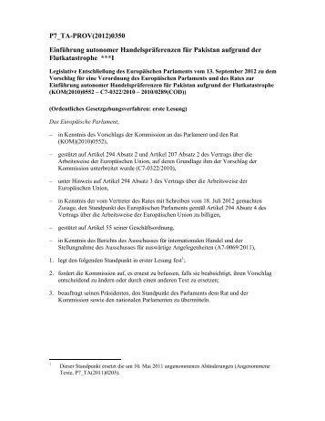 P7_TA-PROV(2012)0350 Einführung autonomer - Europa