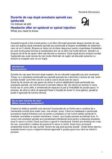 Durerile de cap după anestezia spinală sau epidurală Headache ...