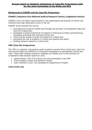ICNARC Document B - Background and plans for Annual Report