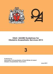 3 OAA / AAGBI Guidelines for Obstetric Anaesthetic Services 2013