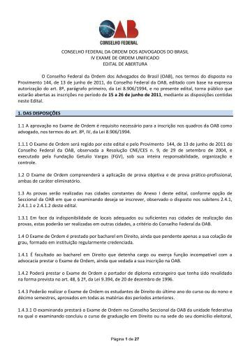 Edital - IV Exame de Ordem Unificado - OAB/MG