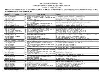 Edital - Locais e Horário de realização da Prova Objetiva ... - OAB/MG