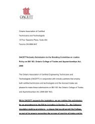 Ontario Association of Certified Technicians and ... - oacett