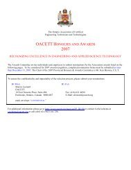 nomination form oacett honours and awards 2007