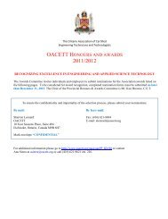 nomination form oacett honours and awards 2011/2012