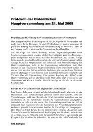 Protokoll der Ordentlichen Hauptversammlung am 21. Mai 2008