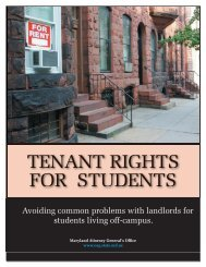 Tenant Rights for Students - Maryland Attorney General