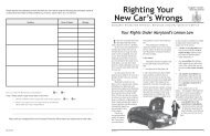 Righting Your New Car's Wrongs - Maryland Attorney General