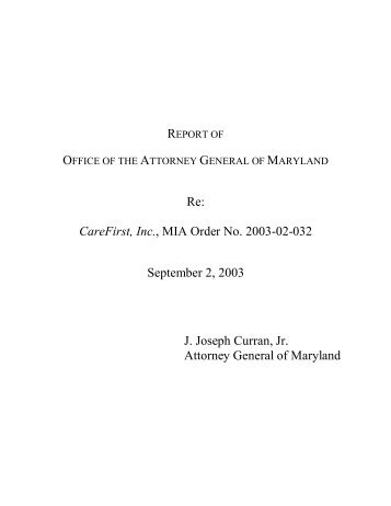 CareFirst Report - Maryland Attorney General